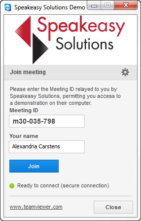Speakeasy Solutions TeamViewer Demo Logon
