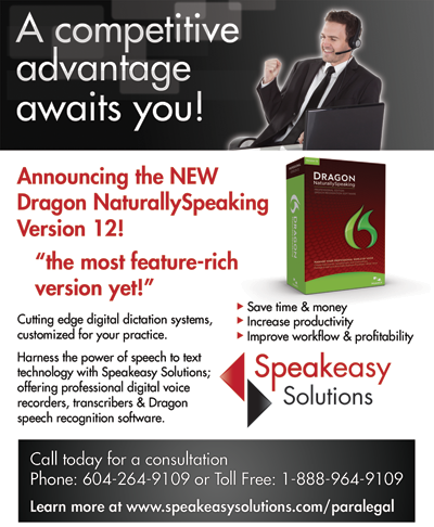 Dragon ad for Annual Paralegal and Support Staff Conference 2012